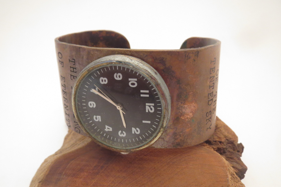 black faced watch w. hammered copper band