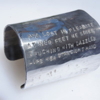 "Keats ""Lost in Pleasure"" large aluminum Cuff"